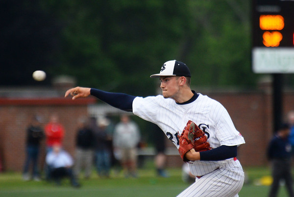 CARL RUSSO/Staff photo St. John's pitcher, Max Gieg. Super 8 tourney final: St. John's Prep at North Andover.  <br /> <br /> North Andover defeated St. John's Prep in the Super 8 tourney championship game Tuesday night.  6/18/2019