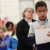 HADLEY GREEN/ Staff photo<br /> Angel Felix De Leon Lora, a student at the Nathaniel Bowditch School in Salem, speaks about why he believes the immigration ordinance should be passed at the public hearing on Wednesday night at the Bentley School in Salem.