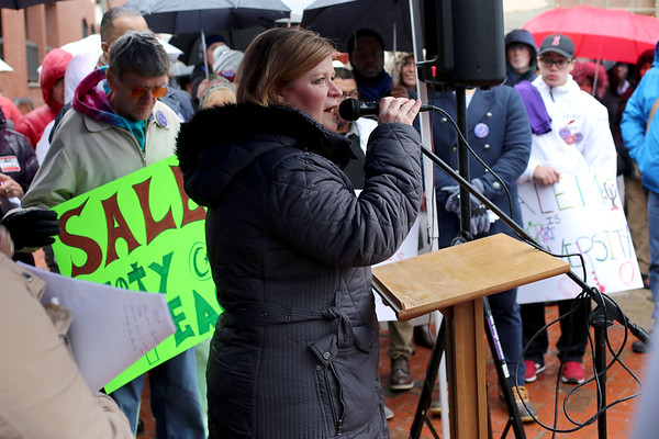 HADLEY GREEN/ Staff photo<br /> Salem Police Chief Mary Butler speaks at a rally organized by Salem's No Place for Hate Committee in support of the city's proposed Sanctuary for Peace ordinance.