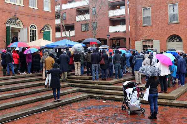 HADLEY GREEN/ Staff photo<br /> Salem's No Place for Hate Committee held a rally in support of Salem's proposed Sanctuary for Peace ordinance, which will be discussed at a hearing next week. The rally was held at the Old Town Hall in Salem on Saturday afternoon.