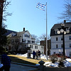 HADLEY GREEN/ Staff photo<br /> Students and families from St. Vasilios Greek School raised the Greek flag outside City Hall in Peabody in honor of Greek Independence Day, which is celebrated on March 25th.