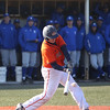 HADLEY GREEN/ Staff photo<br /> Salem State's Alex Toomey (17) hits the ball at the Salem State v. Wheaton College men's varsity baseball at Salem State University on Thursday, March 30th, 2017.