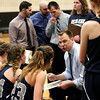 HADLEY GREEN/ Staff photo <br /> Hamilton-Wenham head coach Jon DeMarco talks to his team during a timeout at the Hamilton-Wenham v. Wakefield Division 2 North quarterfinal girls basketball game at Woburn High School on Wednesday, March 8th, 2017.