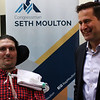 HADLEY GREEN/ Staff photo <br /> Congressman Seth Moulton (D-MA) speaks with ALS patient and advocate, Pete Frates of Beverly, at a press conference for Moulton's ALS Disability Insurance Access Act on Saturday, March 4th, 2017.