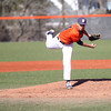 HADLEY GREEN/ Staff photo<br /> Salem State's Jose Martinez (11) pitches at the Salem State v. Wheaton College men's varsity baseball at Salem State University on Thursday, March 30th, 2017.