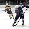 HADLEY GREEN/Staff photo<br /> Swampscott's Stevie Santanello (16) skates towards the goal at the Swampscott v. Hanover Division 3 state semifinals game at the Stoneham Arena.<br /> <br /> 03/14/18