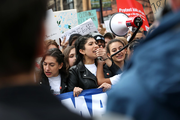 HADLEY GREEN/Staff photo<br /> Somerville High School student Anika Nayak leads chants during the March For Our Lives protest in Boston.<br /> <br /> 03/23/18