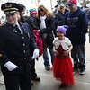 HADLEY GREEN/Staff photo<br /> Dior Stavros, a 6-year-old girl from Salem who has leukemia, walks into the Salem Police Department with her family to be sworn in as an honorary police officer by Salem Police Chief Mary Butler. <br /> <br /> 03/09/18