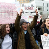 HADLEY GREEN/Staff photo<br /> From left, Emily Zieff, Ericka Mendonsa, and Ellie Brown, all students at Beverly High School, protest against gun violence during the March For Our Lives Boston.<br /> <br /> 03/23/18