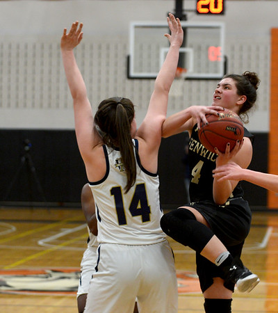 JIM VAIKNORAS/Staff photo Fenwick's Olivia DiPietro makes a move on Archbishop Williams player Jess Knight at Woburn high Wednesday night.
