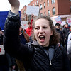HADLEY GREEN/Staff photo<br /> Beverly High senior Natalie Eberhardt chants during the the March For Our Lives protest against gun violence in Boston.<br /> <br /> 03/23/18