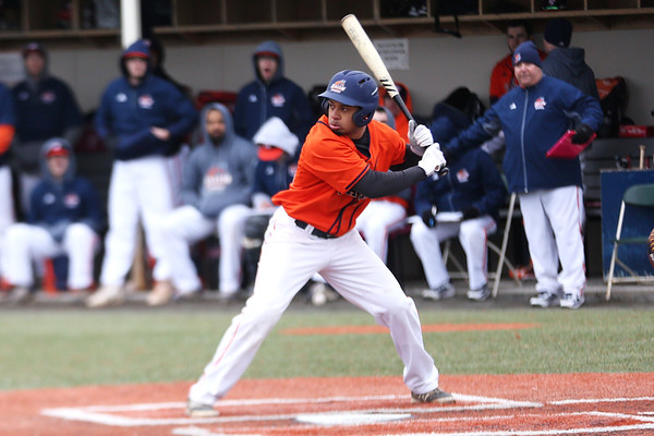 HADLEY GREEN/Staff photo<br /> Salem State's Mac Daniel Singleton (21) goes up to bat at the Salem State v. Brandeis boys baseball game at Salem State University.<br /> <br /> 03/06/18