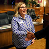 HADLEY GREEN/Staff photo<br /> The new Peabody Chamber of Commerce Director, Jenna Coccimiglio, greets community members at a reception in the Wiggin Auditorium in Peabody. <br /> <br /> 03/06/18