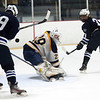 HADLEY GREEN/Staff photo<br /> Swampscott's Conor Donovan (3) shoots at the Swampscott v. Hanover Division 3 state semifinals game at the Stoneham Arena.<br /> <br /> 03/14/18