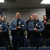 HADLEY GREEN/Staff photo<br /> Police applaud Dior Stavros, a 6-year-old girl from Salem who is fighting leukemia, as she is sworn in as an honorary police officer by Police Chief Mary Butler. <br /> <br /> 03/09/18