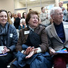 HADLEY GREEN/Staff photo<br /> From left, Dayna Morton, Barbara Metcalf and Painey Metcalf applaud during the ribbon-cutting ceremony for the new expansion at the Sterling YMCA in Beverly. <br /> <br /> 03/27/18