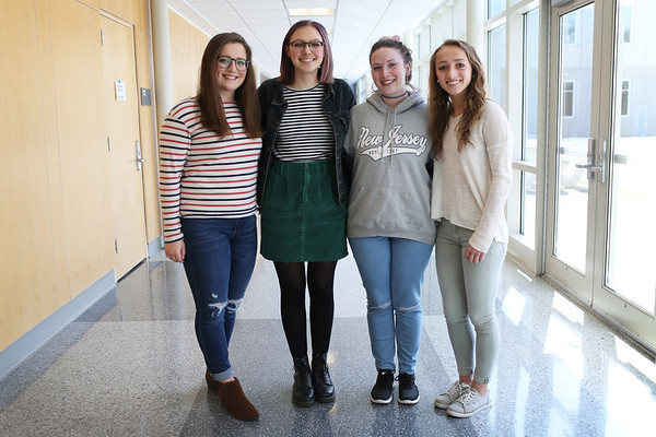 HADLEY GREEN/Staff photo<br /> From left, Johanna Geary, Emma Quigley, Jacquie Brousseau and Becky Henion, all seniors at Danvers High School, recently planned a school-wide assembly about sexual harassment.<br /> 03/27/18