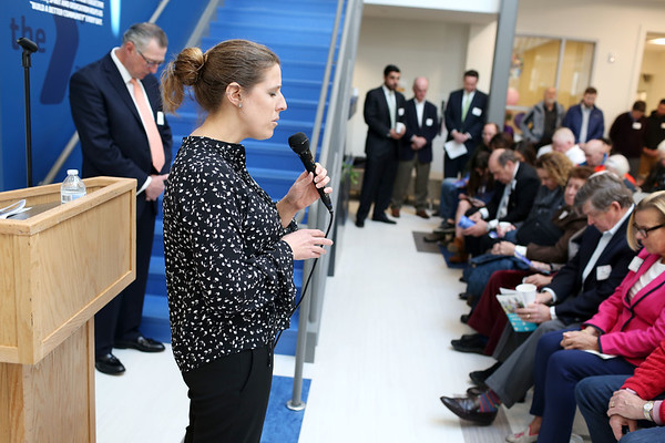 HADLEY GREEN/Staff photo<br /> Reverend Julie Flowers delivers the invocation at the ribbon-cutting ceremony for the new expansion at the Sterling YMCA in Beverly. <br /> <br /> 03/27/18