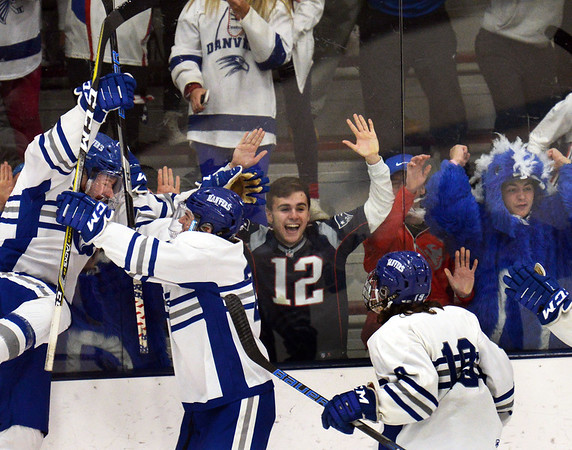 CARL RUSSO/Staff photo. Danvers' players celebrate with their fans after scoring the first two goals of the game. North Andover defeated Danvers 5-2 in boys hockey in Division 2 North playoff quarterfinals. 3/01/2018