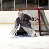 HADLEY GREEN/Staff photo<br /> Swampscott goalie Dan Johnson (30) makes a save at the Swampscott v. Hanover Division 3 state semifinals game at the Stoneham Arena.<br /> <br /> 03/14/18