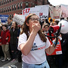 HADLEY GREEN/Staff photo<br /> Andover High School senior Charlotte Lowell rallies the crowd during the March For Our Lives protest against gun violence in Boston. <br /> <br /> 03/23/18