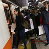 HADLEY GREEN/Staff photo<br /> Beverly High School students board the Orange Line on their way to the starting point of the March For Our Lives Boston protest in Roxbury. <br /> <br /> 03/23/18
