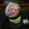 MIKE SPRINGER/Staff photo<br /> Marie Bishop, honorary Irish Person of the Year, laughs at a joke during the annual St. Patrick's Day breakfast Saturday at Peabody City Hall.<br /> 3/17/2018