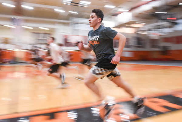 Beverly High School boys basketball practice