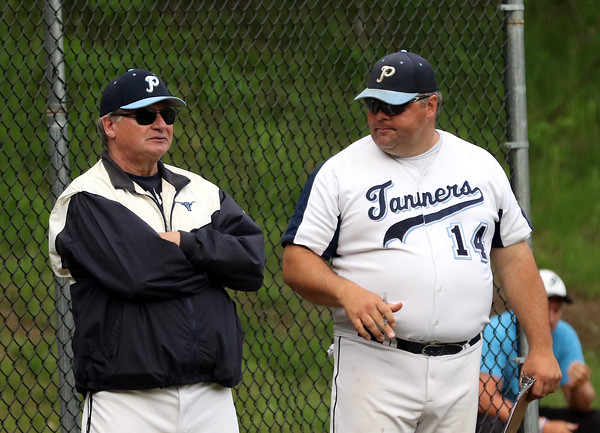 DAVID LE/Staff photo.  Peabody third base coach ________, left, with head coach Mark Bettencourt. 6/16/16.