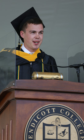 DAVID LE/Staff photo. Endicott College senior speaker for the undergraduates Chris Light makes his remarks to his classmates at Commencement on Saturday morning. 5/21/16.