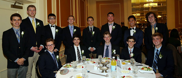 DAVID LE/Staff photo. The 2016 St. John's Preparatory School Top Scholars being honored include, Benjamin Fischer, Hengwang Lyu, Matthew Gianetta, Dylan Goodwin, Ian Henion, Aidan Kelley, Harry O'Neil, William Parker, Philip Anthony Powell Jr., Christopher Puglisi, William McKie Stewart III, Jacob Swaim, Michael Terranova, Joseph Turk III, and Yinglun Wang, at the48th annual North Shore Chamber of Commerce Honor Scholars Recognition Dinner at the DoubleTree by Hilton Hotel in Danvers. 5/10/16.
