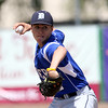 DAVID LE/Staff photo. Danvers starting pitcher Justin Roberto fires a pitch against Essex Tech on Saturday afternoon. 5/14/16.