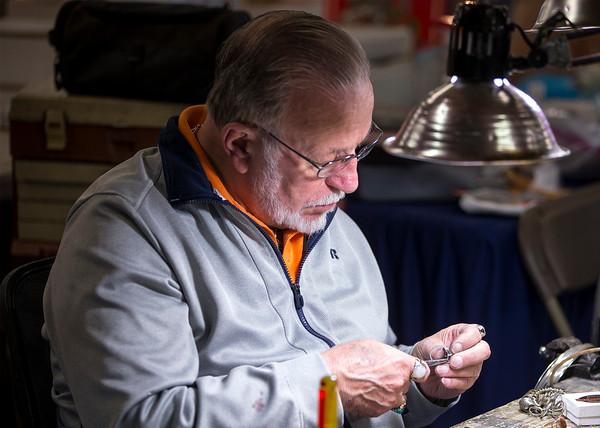 PARKER FISH/ Photo. Jim Fowler of Marlboro, New Hampshire works on a piece of handmade jewelry. 4/30/16