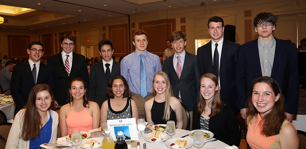 DAVID LE/Staff photo. The 2016 Marblehead High School Top Scholars being honored include, Christopher Colcord, Risa Berman, William Gaddis, Michael Kaminsky, Jillian King, Julia Klopfer, Adam Linsky, Maxwell Lutwak, Corinne Mayle, Christopher Mirabella, Joshua Okon, Sarah Oliver, Marco Radaelli, and Caroline Tripodi, at the48th annual North Shore Chamber of Commerce Honor Scholars Recognition Dinner at the DoubleTree by Hilton Hotel in Danvers. 5/10/16.DAVID LE/Staff photo.