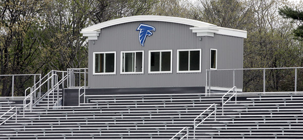 KEN YUSZKUS/Staff photo.     The press box at the new Danvers High Deering Stadium.     05/13/16