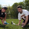 DAVID LE/Staff photo. Juniors Kevin Flaherty of Beverly, left, and Charlie Gillis, of Ipswich, are two of the best face off midfielders on the North Shore. 5/14/16.