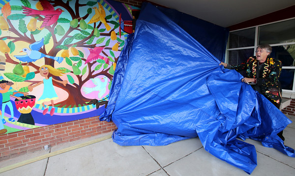 KEN YUSZKUS/Staff photo.    Artist David Fichter of Cambridge unveils the Healthy Living Mural painted on the Riverside School in Danvers. He had help from some of the students of the school.    05/13/16