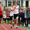 DAVID LE/Staff photo. Marblehead junior Oliver Jacob, left, out-kicks Peabody sophomore William Aylward and Beverly senior Ross Wahl, right, to win the boys mile race at the conference meet. 5/21/16.