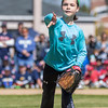 PARKER FISH/ Photo. Riley Crosby throws out the ceremonial first pitch to her brother Ben during the Danvers Little League opening ceremonies. 4/30/16