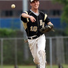 DAVID LE/Staff photo. Bishop Fenwick second baseman Robert Murphy fires to first to cut down a Peabody runner on Monday evening. 5/30/16.