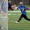 RYAN HUTTON/ Staff photo<br /> Danvers' Kristen McCarthy fires a shot on the Salem net during the first half of Tuesday's game at Salem High.