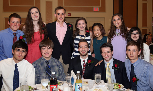 DAVID LE/Staff photo. The 2016 Masconomet Regional High School Top Scholars being honored include, Rachel Arone, Madeleine Carr, Matthew Collins, Colin Cormier, Baxter Demers, Dayna Eidle, Brendan Gentile, Allyson Goldstein, Connor Haines, Nicholas Jean, Lisa Kawasaki, Andrew Leaf, Spencer Low, Joseph McGaunn, Mary Ann Orfanos, Jacqueline Rhuda, Nevyana Todorova, and Elias Varinos, at the48th annual North Shore Chamber of Commerce Honor Scholars Recognition Dinner at the DoubleTree by Hilton Hotel in Danvers. 5/10/16.DAVID LE/Staff photo.