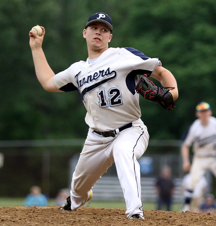 DAVID LE/Staff photo. Peabody starting pitcher Jake Zeuli fires a pitch against Bishop Fenwick in the championship game of the Geanoulis Tournament on Monday evening. 5/30/16.