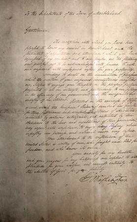 KEN YUSZKUS/Staff photo.    A letter signed by George Washington November 1, 1789.      05/27/16