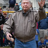 One Hundred Year Old Bill Needleman, who will be 101 at the end of the week, throws out the first pitch of the Peabody Little League Season today at the Little League Field on MacArthur Circle. <br /> <br /> Photo by joebrownphotos.com