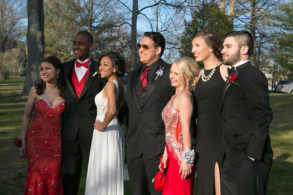 Photo/Reba Saldanha  (from left) Mina Etedali, Jerry Dixson, Hayley Delgado, Bruno Abbatessa, Abigail Bennett, Marissa Breen, and Joseph Peroraro pose for a photo at the library's Rotary Pavilion before boarding buses to the Danvers High School junior prom Friday April 29, 2016