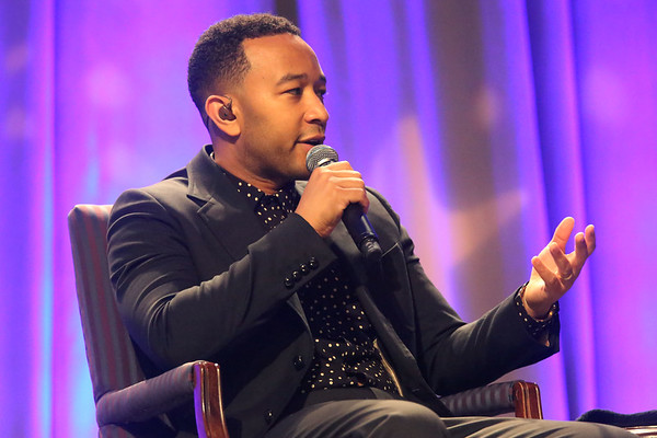 HADLEY GREEN/ Staff photo<br /> Singer-songwriter John Legend talks to WBZ's Lisa Hughes about his social justice work during the Salem State Series event at Salem State's Rockett Arena. Legend was awarded the inaugural Salem Advocate for Social Justice award at the event on Tuesday, May 2nd, 2017.