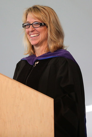 HADLEY GREEN/ Staff photo<br /> Faculty member Susan Bravo gives the commencement address at the St. John's Prep graduation ceremony. 5/21/17