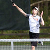 HADLEY GREEN/ Staff photo<br /> Ipswich's Noel Seigert hits the ball during a doubles game at the Hamilton-Wenham v. Ipswich boys varsity tennis match at Pingree park in Wenham. 5/11/17