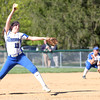 HADLEY GREEN/ Staff photo<br /> D Papamechail (13) winds up to pitch at the Danvers v. Lynn Classical High School girls softball game at the Great Oak School in Danvers. 5/10/17
